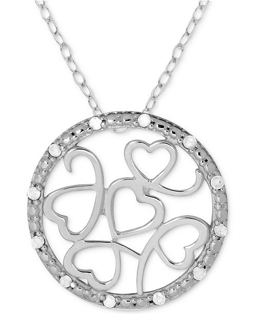 "Macy's Diamond (1/10 ct. t.w.) Multi-Heart Circle 18"" Pendant Necklace in Sterling Silver"