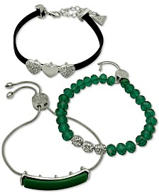 GUESS Silver-Tone 3-Pc. Set Crystal, Green Bead & Faux-Leather Bracelets