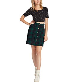 Juniors' Cotton Plaid Paperbag Mini Skirt