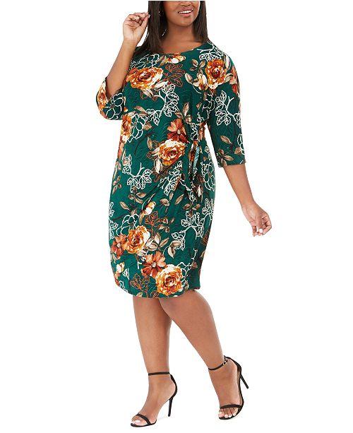 Robbie Bee Plus Size Floral-Print Sarong Dress