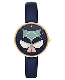 Kate Spade New York Women's Metro Navy Leather Strap Watch 36mm