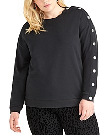 Trendy Plus Size Snap-Sleeve Sweatshirt