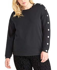 RACHEL Rachel Roy Trendy Plus Size Snap-Sleeve Sweatshirt
