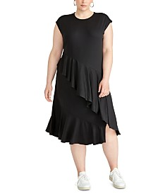 RACHEL Rachel Roy Trendy Plus Size Malian Ruffled Dress