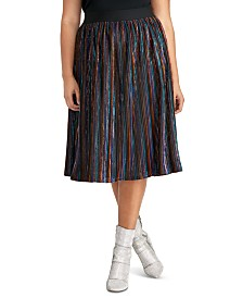RACHEL Rachel Roy Trendy Plus Size Madina Striped Skirt
