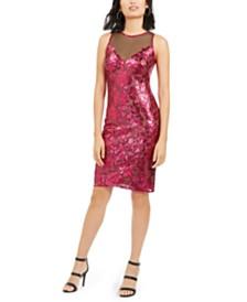 Tadashi Shoji Sequined Illusion Dress