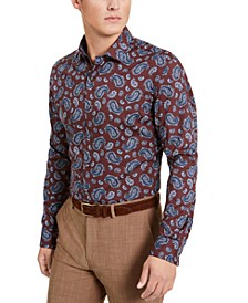 Men's Slim-Fit Stretch Paisley-Print Dress Shirt, Created for Macy's