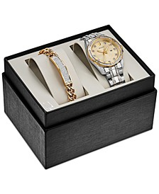 Men's Two-Tone Stainless Steel Bracelet Watch 42mm Gift Set