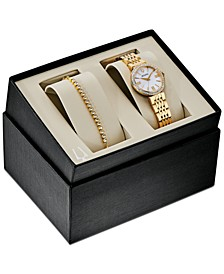 Women's Gold-Tone Stainless Steel Bracelet Watch 33mm Gift Set