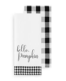 Hello Pumpkin and Check Kitchen Towel Set
