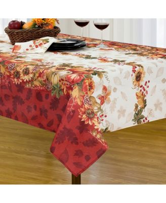 """Swaying Leaves Bordered Fall Tablecloth, 52""""x52"""""""