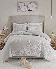 Veronica King/California King 3-Pc. Tufted Cotton Chenille Floral Duvet Cover Set
