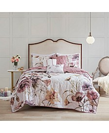 Cassandra Full/Queen 6-Pc. Floral Print Reversible Cotton Quilted Coverlet Set