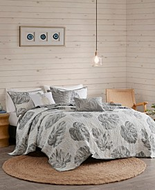 Amoria 6-Pc. Printed Seersucker Palm Reversible Coverlet Sets