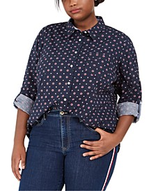 Plus Size Printed Cotton Shirt