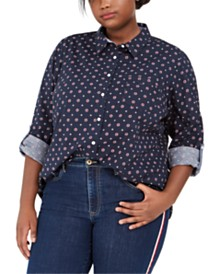 Tommy Hilfiger Plus Size Printed Cotton Shirt