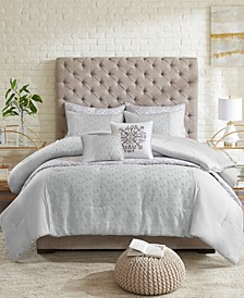 CLOSEOUT! Evie Full/Queen 8-Pc. Clipped Jacquard Comforter and Coverlet Set Collection