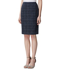 Tahari ASL Plaid Tweed Skirt