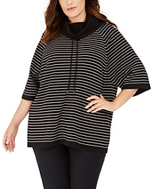 Plus Size Striped Cowlneck Sweater