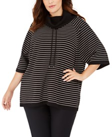 Anne Klein Plus Size Striped Cowlneck Sweater