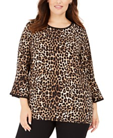 Michael Michael Kors Plus Size Animal-Print Bell-Sleeve Top