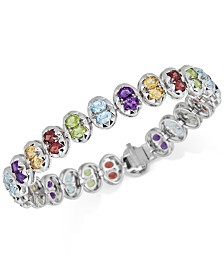 Multi-Gemstone Link Bracelet (10 ct. t.w.) in Sterling Silver