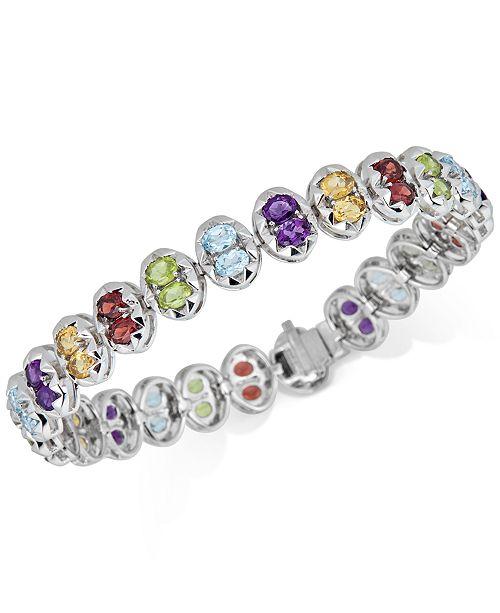 Macy's Multi-Gemstone Link Bracelet (10 ct. t.w.) in Sterling Silver