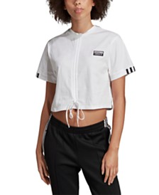 adidas Originals Cotton Vocal Ruched Cropped T-Shirt
