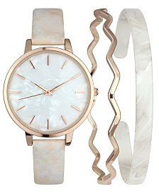 I.N.C. Bone Marbleized Patent Leather Strap Watch & Matching Bracelets Set, Created for Macy's