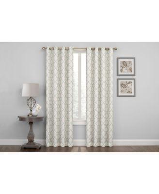 "Embroidered Lattice Room Darkening Grommet Curtain, 63"" x 50"""