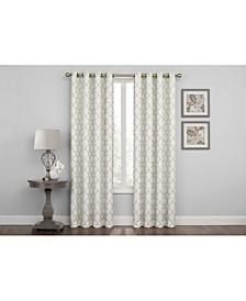 "Embroidered Lattice Room Darkening Grommet Curtain, 63"" x 50"""