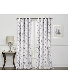 "Birch Embroidered Leaf 100% Blackout Grommet Curtain, 63"" x 50"""