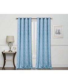 """Merrit Embroidered Scroll 100% Blackout Grommet Curtain, 63"""" x 50"""""""