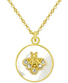 """Gold-Tone Crystal Bee Mother-of-Pearl 18"""" Pendant Necklace"""