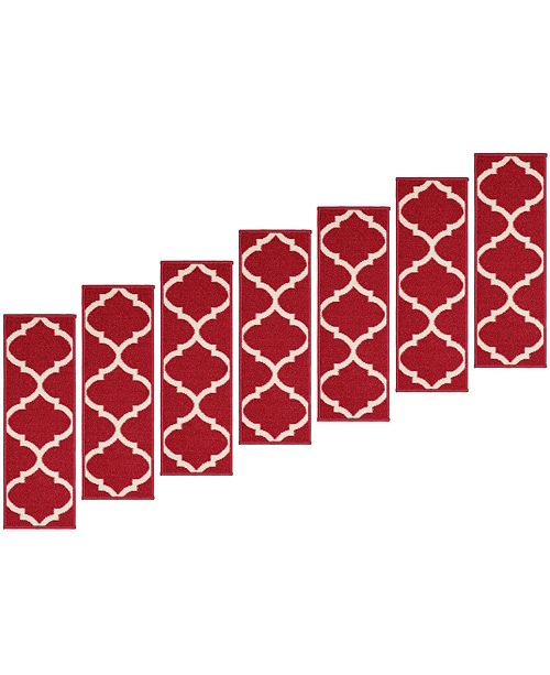 "Ottomanson Ottohome Patterned Non-Slip Pet-Friendly Stair Treads Set of 7, 8.5"" x 26.6"""