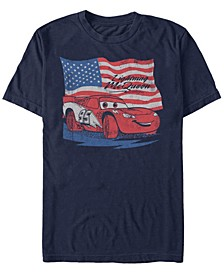 Disney Pixar Men's Lightning McQueen Distressed Flag Short Sleeve T-Shirt