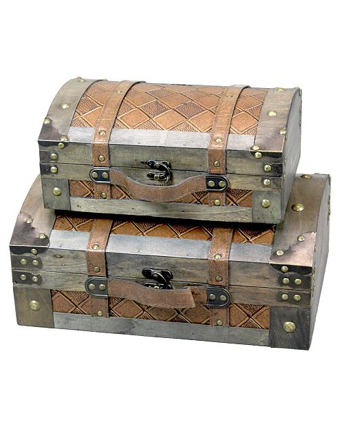 Vintiquewise Vintage-Like Suitcase Style Leather Chests, Set of 2