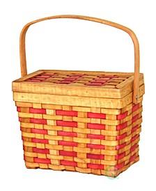 Rectangle Basket with Burgundy Stripes