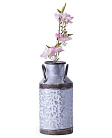 Rustic Farmhouse Style Galvanized Metal Milk can Decoration Planter and Vase, Small