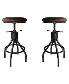 Paris Industrial Adjustable Backless Barstool in Brushed with Fabric Seat - Set of 2