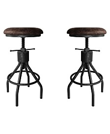 Today's Mentality Paris Industrial Adjustable Backless Barstool in Brushed with Fabric Seat - Set of 2