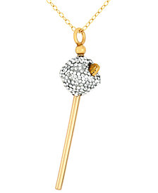 SIS by Simone I Smith 18k Gold over Sterling Silver Necklace, White Crystal Mini Lollipop Pendant