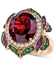 Crazy Collection® Garnet (7-5/8 ct. t.w.) and Multi-Stone Round Flower Ring in 14k Rose Gold (Also Available in London Blue Topaz)