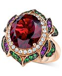 Le Vian Crazy Collection® Garnet (7-5/8 ct. t.w.) and Multi-Stone Round Flower Ring in 14k Rose Gold