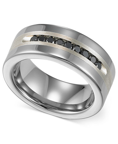 Triton Men S Tungsten And Sterling Silver Ring Channel Set Black Diamond Accent Wedding Band