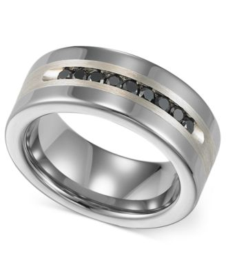 Triton Menu0027s Tungsten And Sterling Silver Ring, Channel Set Black Diamond  Accent Wedding Band