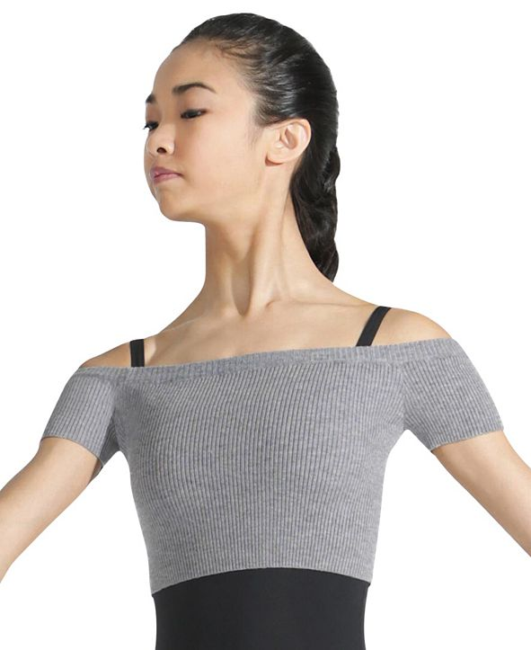 Capezio Ribbed Sweater Knit Cropped Sweater