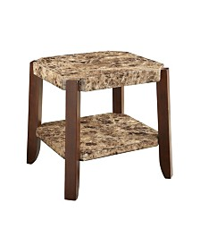 Benzara Wooden End Table with Marble Top and Bottom Shelf