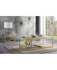 Benzara Coffee Table with Leatherette Top and Magazine Holder