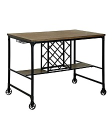 Benzara Wooden and Metal Pub Table with Wheels